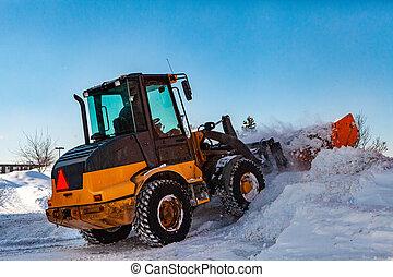 tracteur, clairière, neige, chasse neige