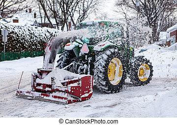 tracteur, neige, snowblower, clairière