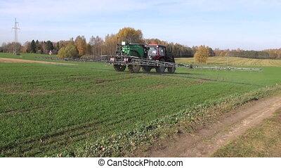 tracteur, pulvérisation, récolte champ