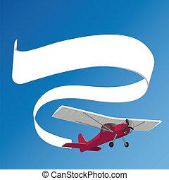 traction, blanc, avion, bannière