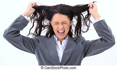 traction, femme, elle, cheveux