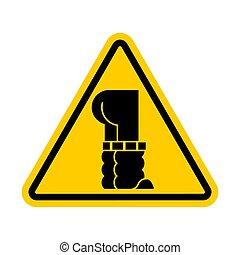 traction, fermé, pants., signe., attention, jean, jaune, bas, avertissement, prudence, route