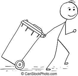 traction, wheelie, homme, casier, sourire