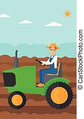 tractor., conduite, paysan