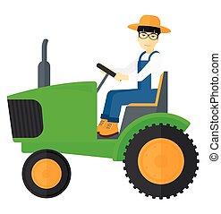 tractor., paysan, conduite