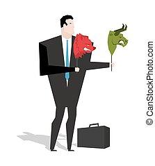 trader., mains, animaux, masque, stockage, ours, business, homme affaires, head., échange, stratégie, changement, tient, joueur, taureau, valuations