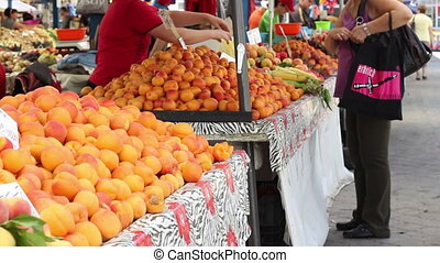 traditionnel, achat, marché, fruits
