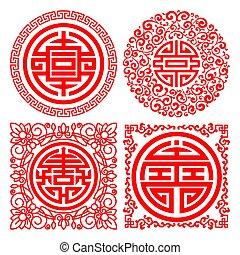 traditionnel, auspicious, ensemble, chinois, symboles