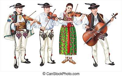 traditionnel, bande, zakopane, folklorique