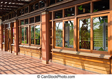 traditionnel, bois, bâtiment, chinois