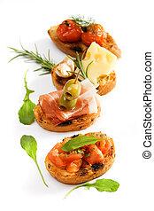 traditionnel, bruschette, italien, apéritif