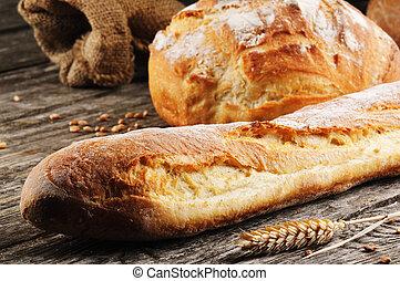 traditionnel, cuit, fraîchement, pain français
