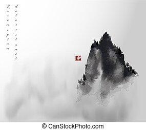 traditionnel, encre, hiéroglyphe, -, fog., pic, oriental, élevé, montagne, u-sin, peinture, go-hua., sumi-e, happiness.