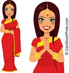 traditionnel, femme, indien