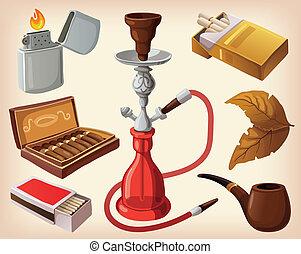 traditionnel, fumer, ensemble, appareils