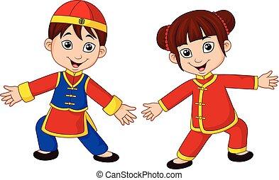 traditionnel, gosses, déguisement, chinois, dessin animé