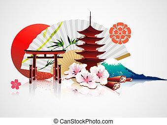traditionnel, japonaise, fond