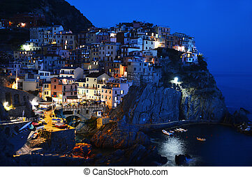traditionnel, méditerranéen, manarola, italie, architecture