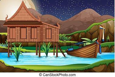 traditionnel, maison, thaï
