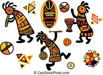 traditionnel, motifs, vecteur, africaine