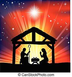 traditionnel, nativité, chrétien, noël scène