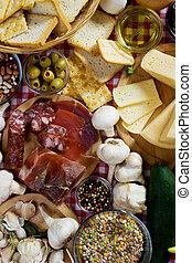 traditionnel, nourriture, ingrédients