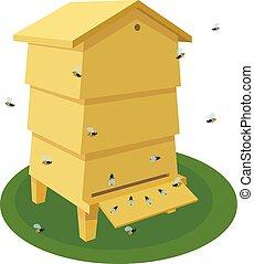 traditionnel, ruche, dessin animé, bois, blanc, abeille, beehive., illustration, arrière-plan.