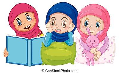 traditionnel, séance, isolé, musulman, fond, arabe, habillement, dormir, gosses, blanc