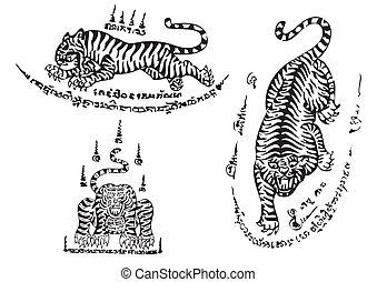traditionnel, thaï, art, tigre, tatouage