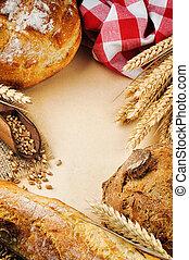 traditionnel, vendange, cadre, pain, frais
