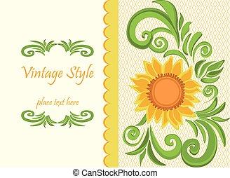 traditionnel, vendange, carte, invitation
