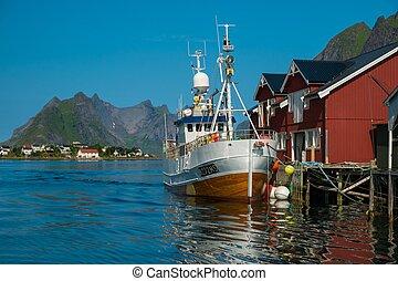 traditionnel, village, peche, reine, norvège, bateau