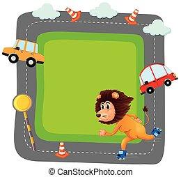 traffice, lion, bannière
