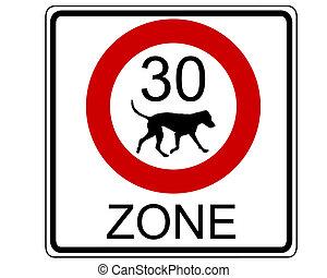trafic, chiens, signe