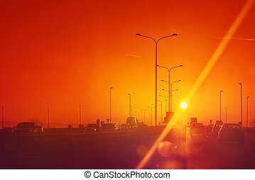 trafic, coucher soleil