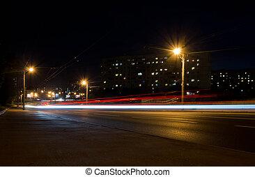 trafic ville, route, nuit