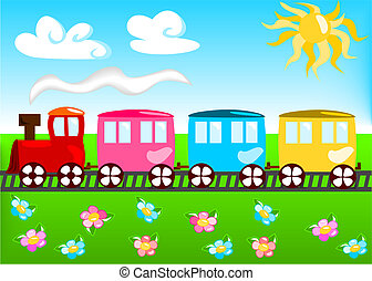 train, dessin animé, illustration