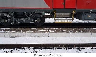 train, en mouvement, rails