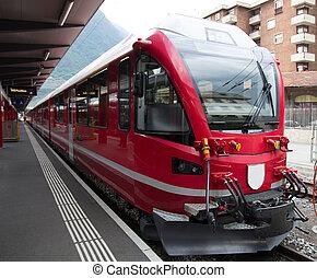 train express, suisse, bernina, montagne