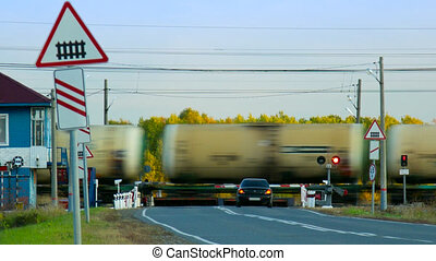 train fret, forêt, réservoirs, croisement, chemin fer, mouvements