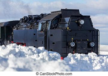 train, neige, vapeur