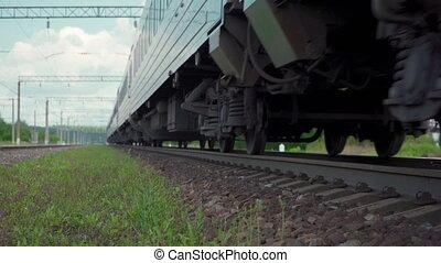train passager, ferroviaire, vidéo, en mouvement