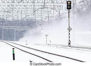 train passager, neige