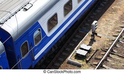 train, sommet, rails, vue, mouvements