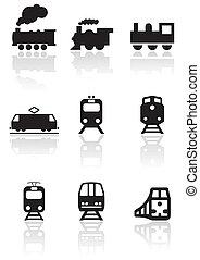 train, symbole, vecteur, set.