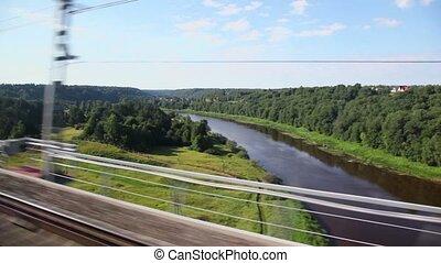 train, village, forêt, station, passe, paysage
