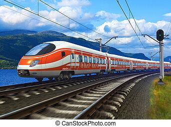train, vitesse, élevé