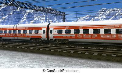 train, vitesse, hautes montagnes