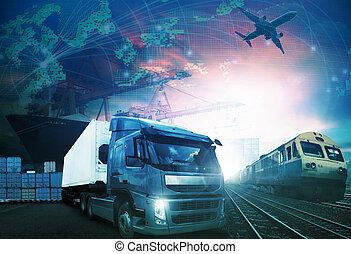 trains, mondiale, cargaison, aérez transport, tout, bateau, logistique, importation, fond, thème, industries, fret, usage, camion, exportation, commerce