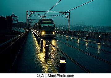trains, portugal., pont, nuageux, vue, fer, porto, temps, nuit, métro, luis, dom